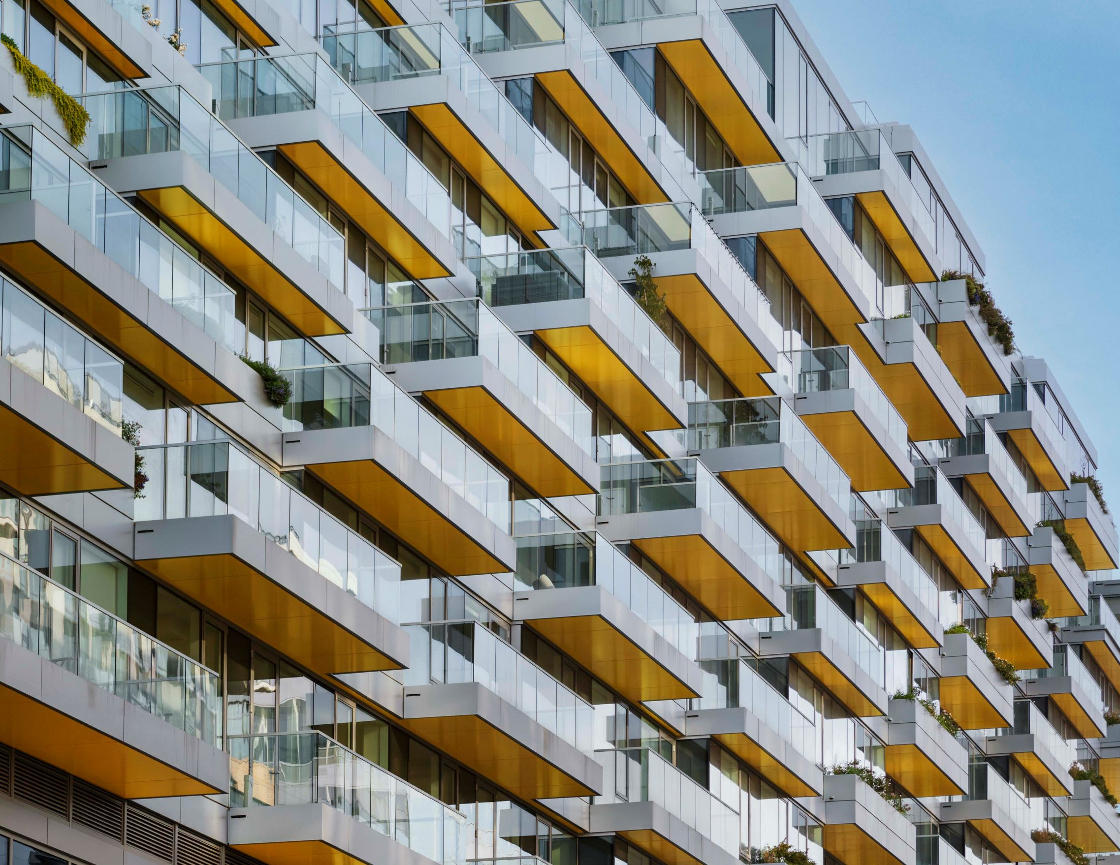 Synergi's glass guardrail along the balconies of West Half, located in the Navy Yard neighborhood of Washington, DC